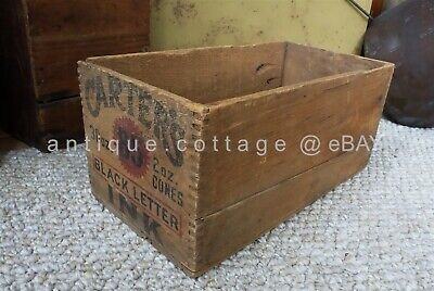 antique victorian CARTER'S BLACK INK WOOD CRATE BOX