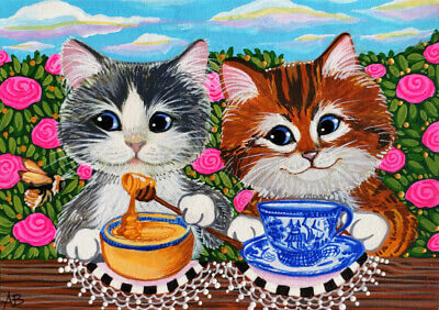 ACEO Original Cat Kitten Kitty Honey Bee Tea Blue Willow Art Painting A Berbling