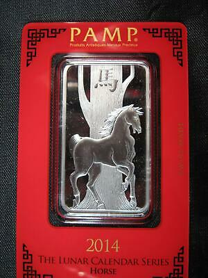 "2014 ~ ""HORSE"" PAMP SWISS .999 SILVER BAR 1 OZ. SEALED ~ Pamp Suisse"