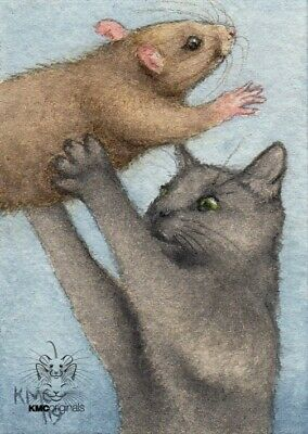 KMCoriginals Rat Cat dirty dancing dreams nightmare watercolor ACEO NFAC art