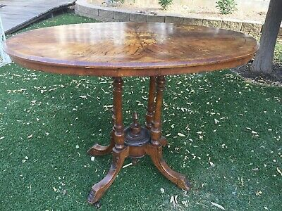 Antique English Walnut Oval Bird Cage Hall Side Breakfast Table