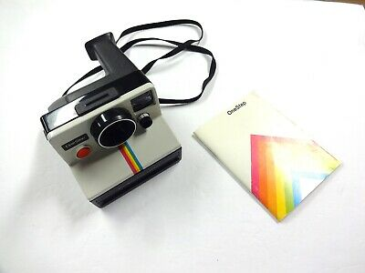 Vintage Polaroid Rainbow Stripe One Step Sx-70 Land Camera Usa W/ Manual Vgc