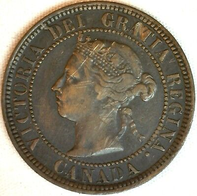 1884 Copper Canadian Large Cent One Cent Coin Very Fine #23