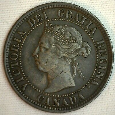 1891 Copper Canadian Large Cent One Cent Coin VF #1