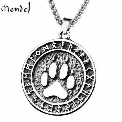 MENDEL Mens Norse Rune Viking Bear Paw Claw Necklace Pendant Stainless Steel Men