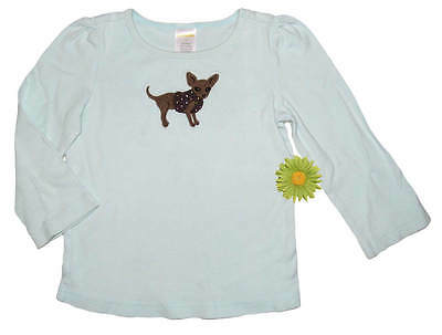 Gymboree Outlet LOTS OF DOTS Chihuahua Dog Blue Tee TOP 3
