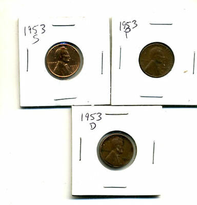 1953 P,d,s Wheat Pennies Lincoln Cents Circulated 2X2 Flips 3 Coin Pds Set#3564