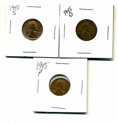 1945 P,d,s Wheat Pennies Lincoln Cents Circulated 2X2 Flips 3 Coin Pds Set#3284