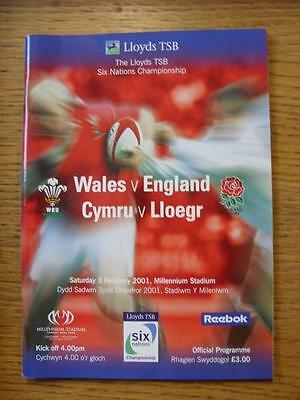 03/02/2001 Rugby Union Programme: Wales v England [At Cardiff Arms Park] (Team C
