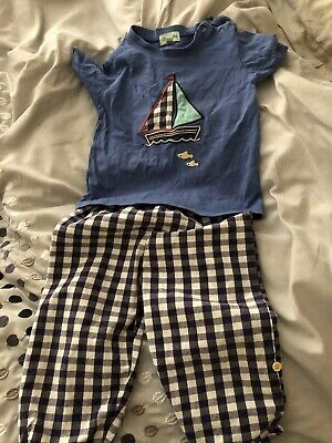 Lily & Sid Summer Outfit, T Shirt And Roll Up Short Trousers 12-18 Months