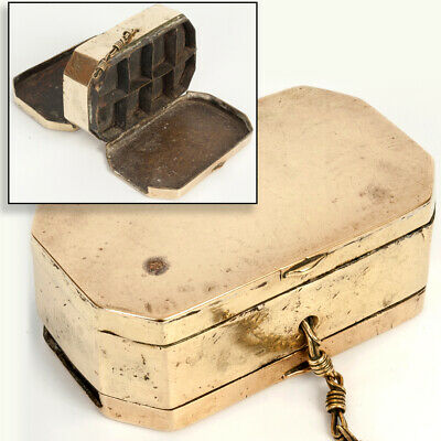 Antique DUTCH 18th Century Octagonal Brass Double Sided Snuff & Pill Box c 1780