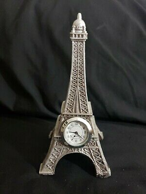 Quartz Effiel Tower Time Piece Silver Statue
