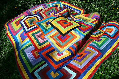 """Hand Made Quilt """"FREE YOUR SCRAPS"""" Design by Quilt-Addicts 82"""" square"""