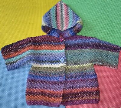 """Hand Knitted Baby Hooded Jacket Virgin Wool Multicoloured 28"""" 18months - 2years"""