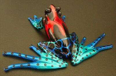 LARGE Glass FROG Painted Shiny Red Blue Black Glass Figure Ornament Glass Animal