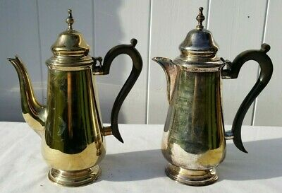 Silver Plated Coffee Pot With Matching Hot Water Pot, 22.5 Cm High.