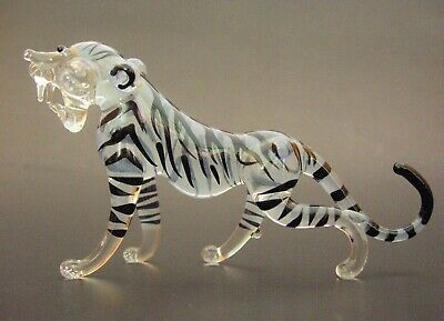Beautiful Curio Display Glass WHITE TIGER Painted Glass Animal Glass Ornament
