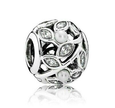 284196f18 Authentic Pandora Silver Luminous Leaves White Pearl Clear Charm 791754