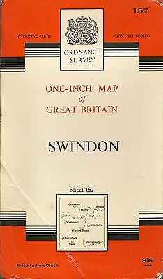 Ordnance Survey Map No 157 SWINDON - Cloth - 1958