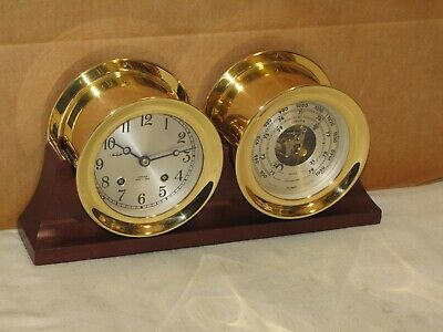 Chelsea Vintage Ships Bell Clock & Barometer~Factory Stand~1985~Mint