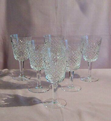"""6 Vintage Waterford Crystal Alana Pattern Water Goblets, 6 7/8"""". Ireland"""