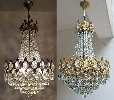 Matching Pair of Antique Vintage Brass & Crystals French Beautiful Chandeliers