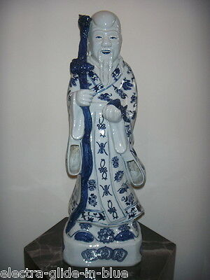 Chinese Blue & White Imperial Figure Late Qing Dynasty C1911 (Cf004)