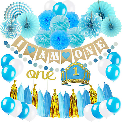 ZERODECO 1ST BIRTHDAY Decoration First Baby Boy Birthday Party Hat Cake Topper