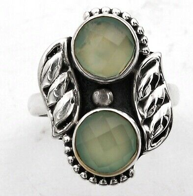 Faceted Aqua Chalcedony 925 Solid Sterling Silver Ring Jewelry Sz 7, C18-3