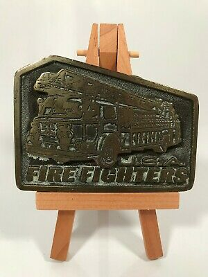 Vintage USA Firefighters Adezy Denver Solid Brass Belt Buckle