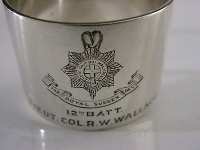 Lowthers Lambs Sussex Regiment Solid Silver Napkin Ring Wwi 1914 Military
