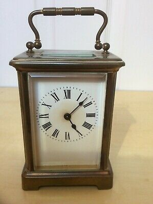 Antique Brass 8 Day Carriage Clock Bevelled Glass Uncleaned & Key Working Well