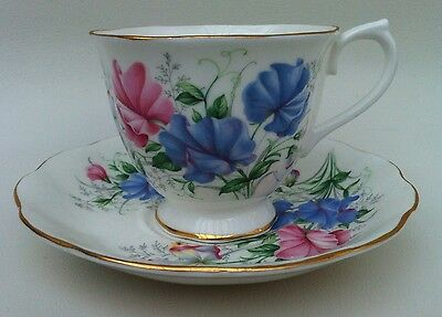 ROYAL ALBERT Vintage 1960's Friendship Series SWEET PEA Bone China Cup & Saucer