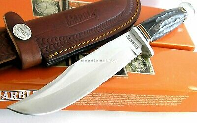 """Marbles Clip Point Blade Jigged Horn Handle Knife 10 3/8"""" Leather Sheath 448"""