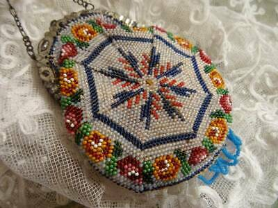 An Exquisite Mid ~19th Century Glass Beaded & Cut Steel Purse c.1870