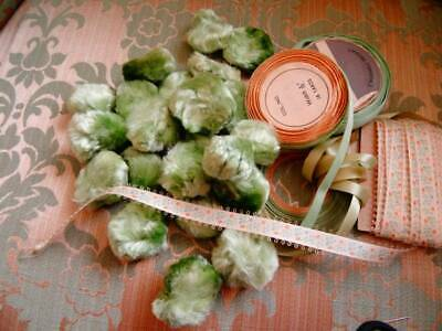 A Wonderful Collection Of Mint Green Pom Pom & Reels Of Ribbon