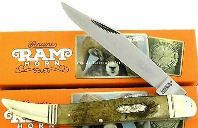 """Marbles Large Toothpick Classic Style Folder 5"""" Rams Horn Handle Knife MR362"""