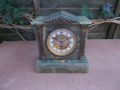 Antique French Green Onyx Mantel Clock Architectural Style For Restoration