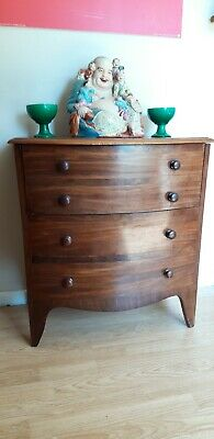 Super Victorian Chest Of Drawers Hi Fi Cabinet Mahogany Bow Fronted Commode