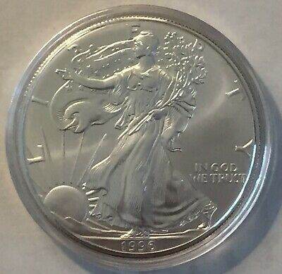 1996 American Silver Eagle in Air Tight Capsule-RARE, GREAT CONDITION, NO TONING