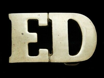 NE15108 VINTAGE 1970s CUT-OUT NAME **ED** AGED SOLID BRASS BARON BELT BUCKLE