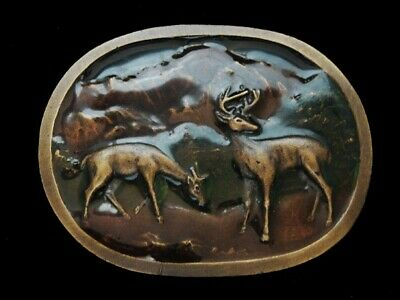 NE21112 VINTAGE 1970s **TWO DEER IN MOUNTAIN FOREST** INDIANA METAL CRAFT BUCKLE