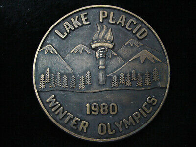 Ql13126 Vintage 1980 **Lake Placid Winter Olypmics** Sports Belt Buckle