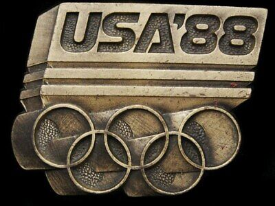 Je29151 Vintage **1988 Usa Olympic Rings** Badge-Style Brasstone Belt Buckle
