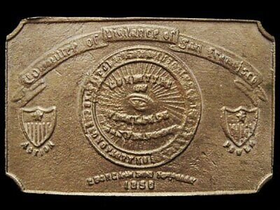 JA21105 GREAT 1970s *COMMITTEE OF VIGILANCE OF SAN FRANCISCO* SOLID BRASS BUCKLE
