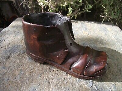 Antique Swiss Black Forest Hand Carved Wood Treen Old Boot