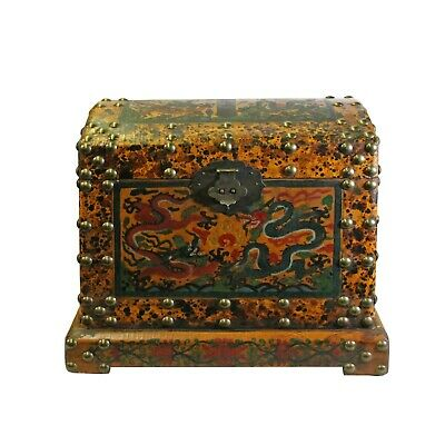 Chinese Distressed Yellow Red Dragon Graphic Trunk Box Chest ws155