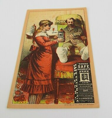 1880s Antique Victorian Trade Card Warner's Safe Rheumatic Cure Chromolithograph