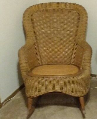 Antique Wakefield Heywood Wicker Rocking Chair Rolled Back and Arms circa 1900