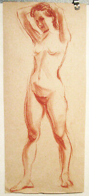 YOUNG NUDE WOMAN drawing by U/K Russian artist